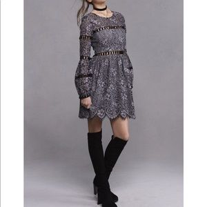 🆕 For love and lemons gray lace dress- size XS